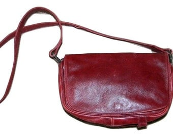 Vintage Enny leather Handbag, butter soft leather in burgundy, Italian designer purse