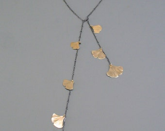 Mixed metal ginkgo leaf lariat style necklace in sterling silver and gold filled, Rachel Wilder handmade jewelry
