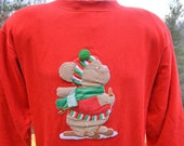 vintage 80s sweatshirt CHRISTMAS mouse snowshoes crazy xmas tacky 3D applique crew neck sweater Medium red pom pom
