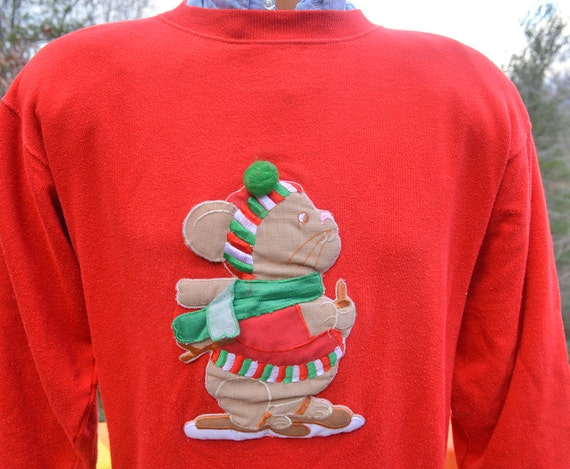vintage 80s sweatshirt CHRISTMAS mouse snowshoes crazy xmas tacky 3D applique crew neck sweater Medium red pom pom