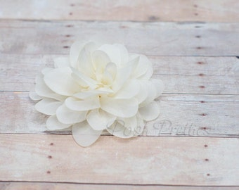 Ivory Flower Hair Clip - Petal Flower- Flower Hair Clip - Alligator Clip - With or Without Rhinestone Center