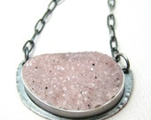 Pink Druzy Necklace, Sterling Silver Necklace, Statement Jewelry, Sparkly Necklace, Be Brave Necklace, Personalized pendant