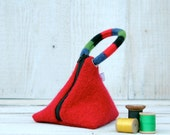 Recycled Wool Triangle Pouch in Red Blue  and Black