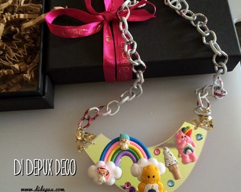 Sale!!!!Deco Birthday Care Bears n Twin Stars Necklace one and only!