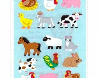 Farm Animals Sticker Strip by Sandylion  MOC kromekote  NIP blue backing horse pig rabbit sheep rooster hen chicken goat duckling cow dog