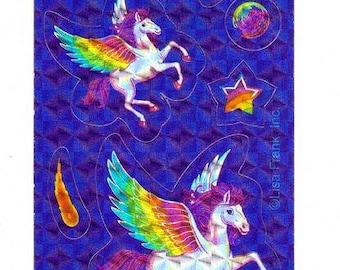 Lisa Frank Skye the Pegasus Sticker Strip  S585 horse RARE prism