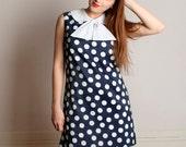 Vintage 1960s Polka Dot Dress - Mini A-Line Pussy Bow Dress - Medium