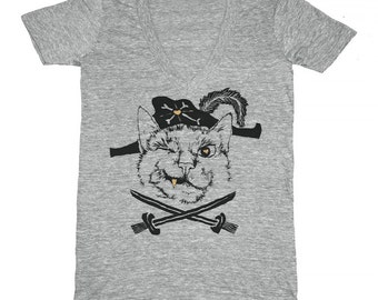 SALE Pirate Cat V-Neck T-shirt Tee Shirt Cute Funny Crossed Swords Gold Tooth Meow Ship Captain Athletic Grey Kitty Kitten Vneck Tshirt