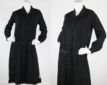 30% SALE - 1920's Vintage Antique Black Lace Inset Silk Satin Trim Drop Waist Collared Dress