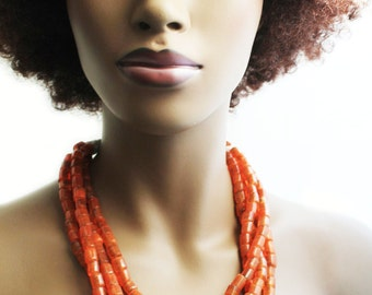 African Necklace, African Beaded Necklace, Orange Bead Necklace, Glass Bead Necklace, Tribal Necklace, Bule Tribal African Necklace