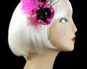 Hot Pink and Black Feather Fascinator, Hair Feather Clip, Feather Hair Clip Fascinator, Bachelorette Hair Clip