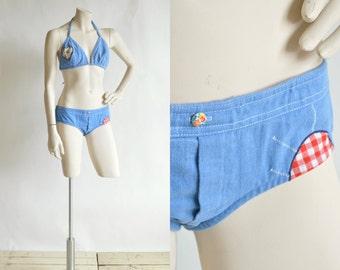 1970s Denim Bikini --- Vintage Bohemian Swimsuit