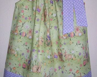 Easter Dress Pillowcase Dress with Bunnies and Eggs Spring Dress with Rabbits Purple and Green baby dress toddler dress girls Easter Outfit