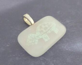 Turtle Pendant, Omega Slide, White Pendant, Fused Glass Jewelry - Snappy - 3604 -5