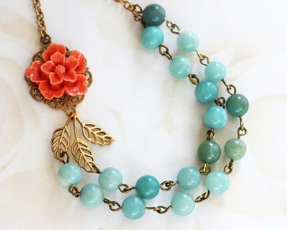 Coral and Aqua Necklace, Bead Necklace, Amazonite Jewelry, Coral Flower Necklace, Vintage Jewelry