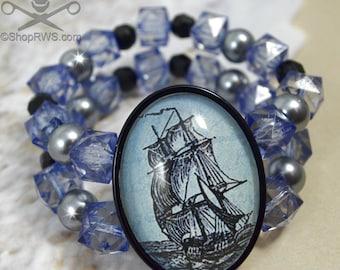 WIND In My SAILS- 30 X 40 Glass Cameo STRETCH Bracelet