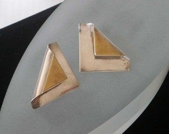 Vintage Sterling Silver Modern Design Earrings Taxco