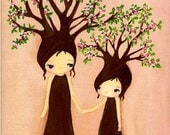 Tree Print Spring Pink Blossom Mother Daughter Nursery Decor Girl Children Wall Art---Mommy And Me Apple Trees