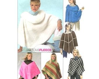 Womens Fleece Poncho - Six Styles - Fabulous Fleece - Sewing Pattern McCalls 4976 - Plus Size L-XL Bust 38-44 Uncut