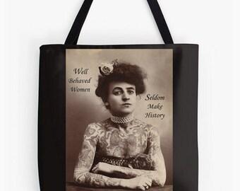 Tote Bag - Tattoo Woman, Vintage Style, A fun gift idea