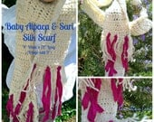 Baby Alpaca & Sari Silk Hand Crocheted, Long, Skinny, Scarf, Includes US Shipping