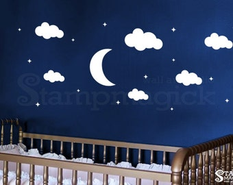 Nursery Wall Decal - Moon Stars Cloud Vinyl Wall Decal Graphics- Nursery Wall Art Wall Mural Wall Decor for Baby - K215