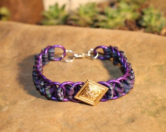 The Dundee Bracelet - Highland Dance edition - Pride of Bannockburn Tartan - Purple Rings, Gold Button