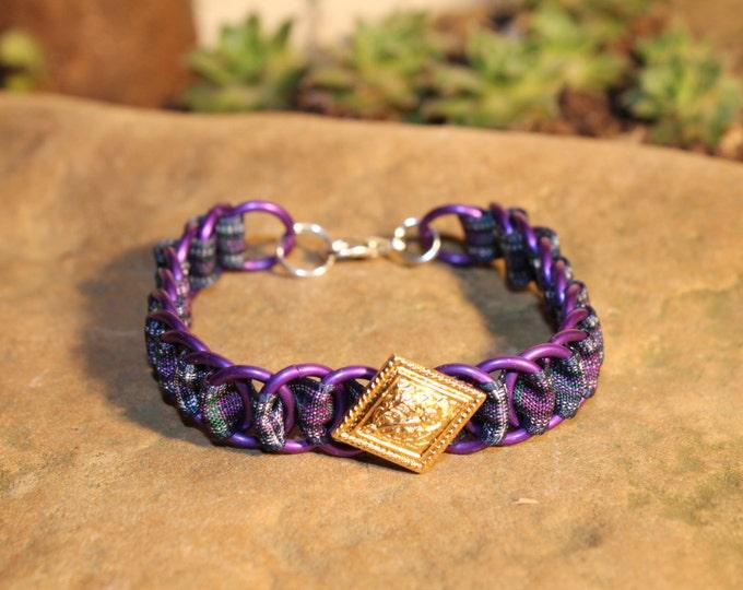 The Dundee Bracelet - Highland Dance edition - Pride of Bannockburn Tartan - Purple Rings, Gold Button