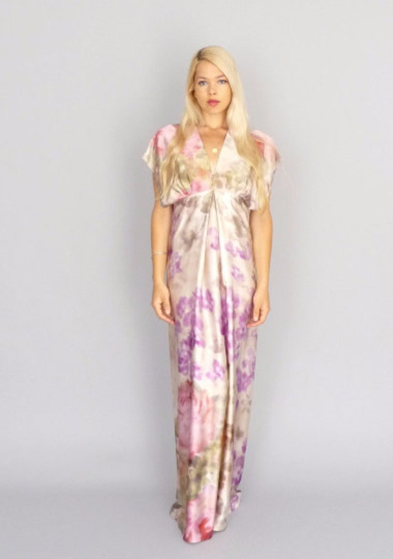 FLORA: Kimono style silk gown ivory floral empire relaxed modern beach boho hippie wedding gown