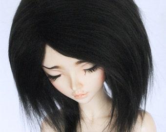 "BJD MSD minifee 7"" wig Black fake fur wig MonstroDesigns"