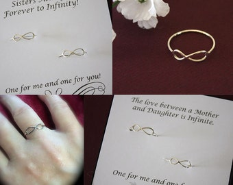 2 Sister Infinity Rings, Mother Daugther Infinity Rings, Bridesmaid Gift, Sterling Silver, Card, Sorority Sister, Best Friend, BFF