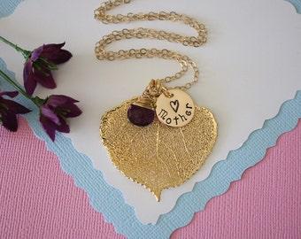 Monogram Mother Leaf Necklace, Medium Leaf Necklace, Grandma Charm, Aspen Leaf, Gold Necklace, Personalized Necklace, Gemstone, Birthstone