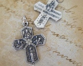 Beautiful Four Way Cross in Antique Silver Finish, Finely Detailed Italian Patron Saint Holy Medal Charm, Catholic Supply, Rosary Parts