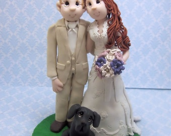 Custom Bride and Groom with Pets Wedding Cake Topper, Custom wedding cake topper, personalized cake topper, Bride and groom cake topper