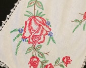 Vintage White Dresser Scarf/Table Runner with Hand Embroidery Red Roses and Crochet Trim