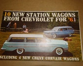 1961 Chevrolet Salesmen Brochure, Nomad, Corvair Wagons, Brookwood, Greenbriar De Luxe Sports Wagon, Lakewood 700, Station Wagons