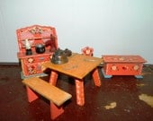 Rare 60's Dora Kuhn Folk Art Tole Painted West Germany Dollhouse Furniture, Miniature Doll House Furnishings, Hutch, Table, Hope Chest