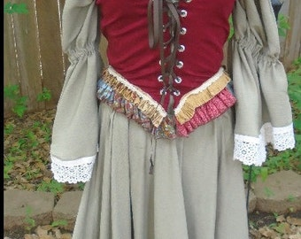 Gypsy Cowgirl / Renaissance/ Boho Renaissance Festival costume  Ren Fest gypsy festival wear corset skirt top  costume cosplay
