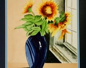SALE Blue Pitcher & Sunflower Watercolor Painting