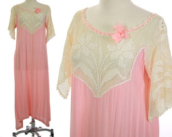 Antique 20s dress Vintage flapper dress Gatsby dress Art Deco dress Daffodil motif Pink 20s dress Crochet lace dress M Medium