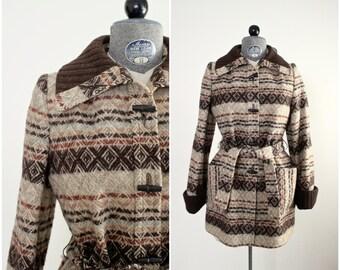 1970s Vintage Toggle Coat • Belted Blanket Coat • Belted Jacket • Vintage Wool Coat • 70s Wool Jacket • Toggle Jacket • XS Coat • XS Jacket
