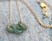 Jade Gemstone Trio 14KT Gold Filled Necklace, Jade Jewelry, Green Jade Necklace, MindyG Jewelry