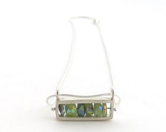 Horizontal Rectangular Sterling Necklace with Chrysoprase - N0172