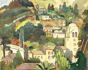 UC BERKELEY HILLS in 1936 Watercolor Painting