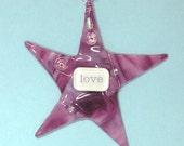 "Fused Glass Valentine Keepsake/ LOVE ""Wishing Star"" in Purples by Susan Faye"