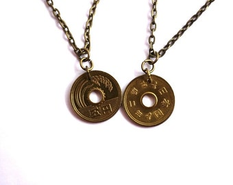 Coin Necklace, Authentic Japanese 5 Yen Pendant, Upcycled Eco-Friendly Jewelry by Hendywood