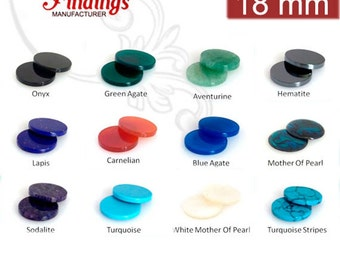 4Pcs x Round 18mm Flat Gemstones for your Choice (18RDFLV)