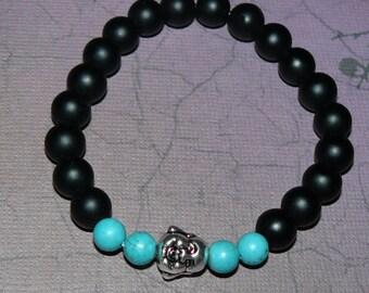 Buddha Matte Black Onyx/Magnesite Unisex Bracelet (Mala)