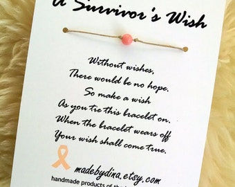 A Survivor's Wish. The Wish Bracelet for Uterine and Endometrial Cancer Awareness. Peach Ribbon Edition.