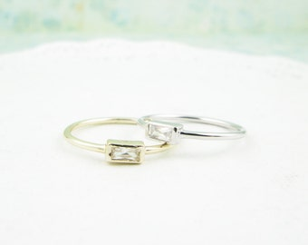 dainty zirconia rectangle ring in silver and gold hypoallergenic cubic rings - Hypoallergenic Wedding Rings